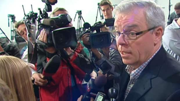 Premier Greg Selinger speaks with media after announcing a partnership between the province and the Winnipeg Jets.