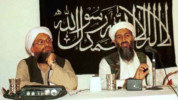 Ayman al-Zawahri, left, holds a press conference with Osama bin Laden in Khost, Afghanistan, in 1998.