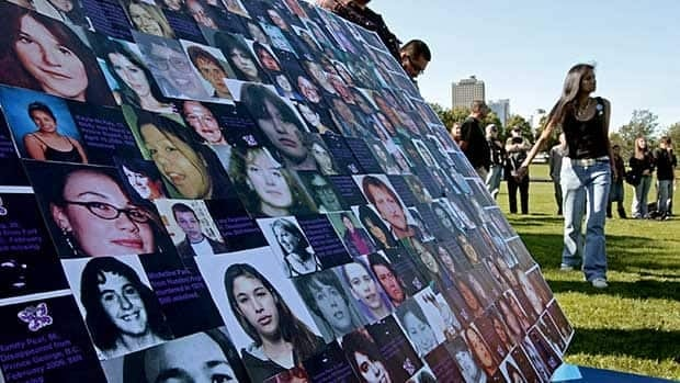 Photographs of missing or murdered women from British Columbia are displayed during a Sisters in Spirit vigil to honour the lives of missing and murdered aboriginal women in Vancouver, B.C., on Sunday October 4, 2009.