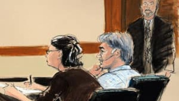 In this courtroom sketch, from left, defence attorney Sabrina Shroff, defendant Manssor Arbabsiar and an unidentified U.S. marshal sit in a New York courtroom during Arbabsiar's arraignment on charges related to a suspected assassination plot against a Saudi Arabian diplomat.