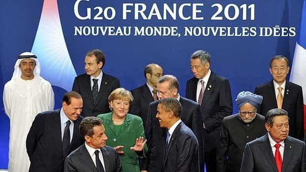 G20 leaders in Cannes Thursday, from left, first row: France's President Nicolas Sarkozy, U.S. President Barack Obama, Indonesian President Susilo Bambang Yudhoyono; Second row: Italy's Prime Minister Silvio Berlusconi, German Chancellor Angela Merkel, Turkey's Prime Minister Recep Tayyip Erdogan, Indian Prime Minister Manmohan Singh; third row: UAE Foreign Minister Abdullah bin Zayed Al Nahyan, Spain's Prime Minister Jose Luis Rodriguez Zapatero, Ethiopian Prime Minister Meles Zenawi, Singapore Prime Minister Lee Hsien Loong and UN General Secretary Ban Ki-Moon.