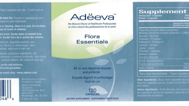 Adeeva Nutritionals has recalled Lot 10342 of the digestive aid Flora Essentials because pills may contain the antibotic Chloramphenicol, linked to rare blood disorder.