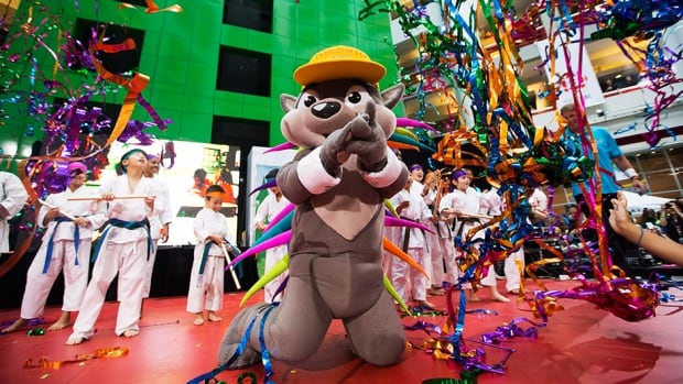Pachi the porcupine is unveiled as the new mascot for the Toronto 2015 Pan Am/Parapan Am Games in Toronto, July 17, 2013.