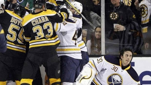 Sabres goalie Ryan Miller, right, suffered a concussion Saturday night after getting bowled over by Bruins forward Milan Lucic after leaving his crease.