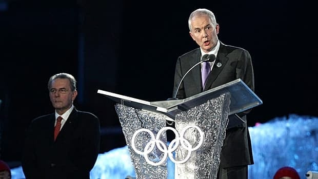 IOC President Jacques Rogge looks on as VANOC CEO John Furlong speaks during the closing ceremonies for the Vancouver 2010 Winter Olympics in Vancouver on Feb. 28, 2010. (Darryl Dyck/Canadian Press)