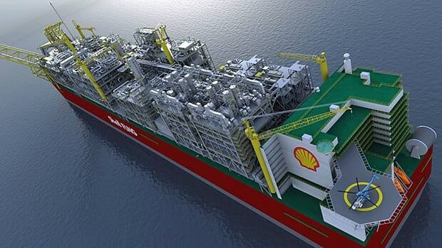 "A rendering of the ""Prelude FLNG"" facility, the biggest floating man-made object ever, a natural gas processing plant longer than four football fields and more massive than any aircraft carrier."