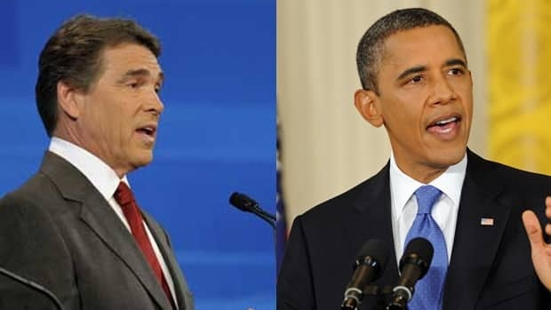 Texas Gov. Rick Perry, left, suggests he has doubts about U.S. President Barack Obama's birthplace.