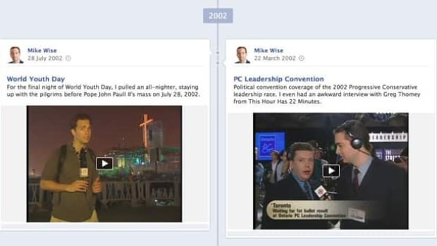 A screengrab of Mike Wise's Facebook Timeline page, which includes video from 2002, several years before Facebook was even launched.