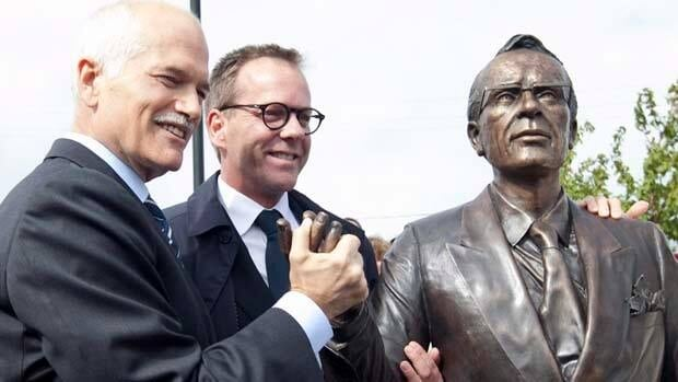 Jack Layton was on hand last year when Lea Vivot's Tommy Douglas statue was unveiled in Saskatchewan.