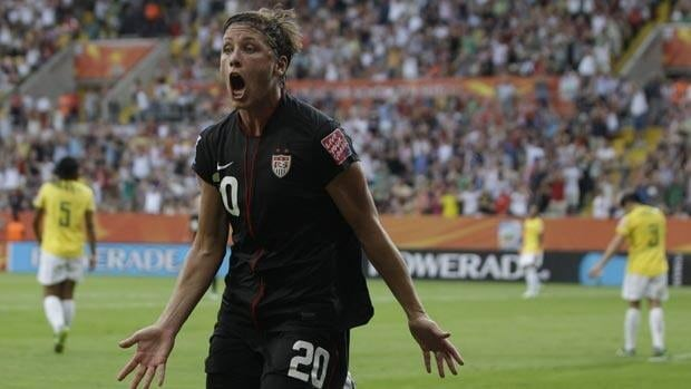 United States' Abby Wambach reacts after scoring in extra time against Brazil in the quarter-finals.