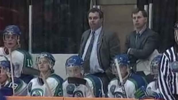 Graham James, as he appeared behind the bench as coach and general manager of the Swift Current Broncos from 1986 to 1994.