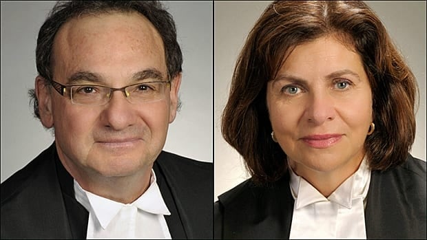 Justice Michael Moldaver, left, and Justice Andromache Karakatsanis were nominated to fill two vacancies on the Supreme Court of Canada Monday.