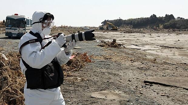 Reuters photographer Kim Kyung-hoon looks for shots in the Minamisoma region near the crippled nuclear plant.