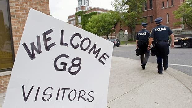 A sign welcomes G8 summit participants to the town of Huntsville, Ontario, June 23, 2010. A confidential draft report by the auditor general raises questions about spending of taxpayers' money in preparation for the summit, The Canadian Press reports.