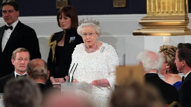 The Queen speaks Wednesday in Dublin Castle during a state dinner taking place on the second day of her four-day visit to Ireland. She did not apologize for any British actions during the bitter conflicts between the two neighbours but said it is clear mistakes were made.