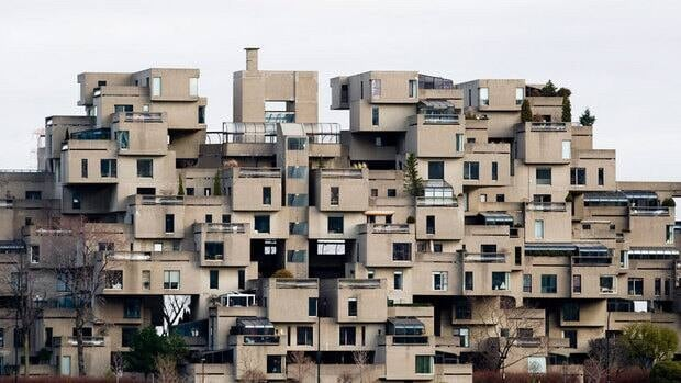 Montreal's modular housing structure Habitat 67 is ahead in voting to be the next landmark featured in Lego's architecture series of play sets.