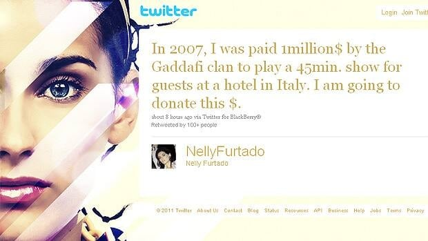 A message on Nelly Furtado's Twitter account referenced the Victoria-born singer performing a 45-minute show for the Gadhafi clan in Italy in 2007.