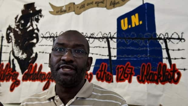 Abousfian Abdelrazik, shown during a news conference on June 15, 2011 in Montreal, has been removed from a UN Security Council terrorist blacklist.
