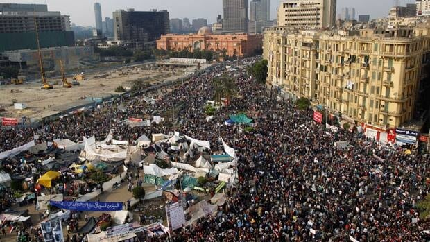 Protesters in Tahrir Square in Cairo, Nov. 25 demand Egypt's military council hand over power to a civilian government. Voting in parliamentary elections begins Nov. 28.
