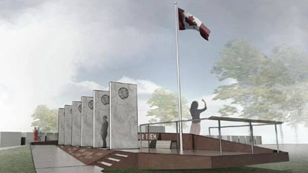 This representation of the Calgary Soldiers' Memorial was created by the Marc Boutin Architectural Collaborative. The memorial was unveiled Saturday.