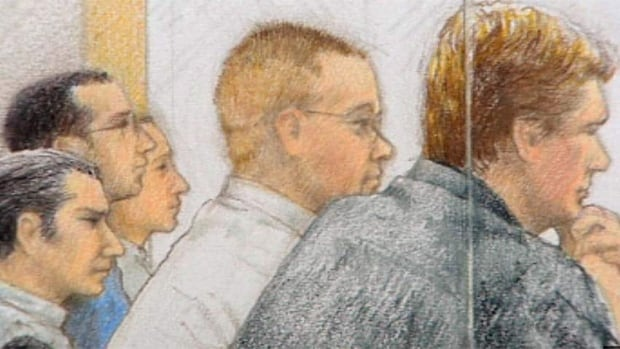 A court sketch of five members of The Greeks gang while on trial for various charges of murder and manslaughter last year.