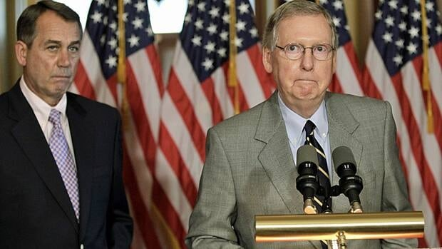 Speaker of the House John Boehner, left, and Senate Republican leader Mitch McConnell of Kentucky appeared at a news conference Saturday on Capitol Hill as the U.S. debt crisis remained unresolved.
