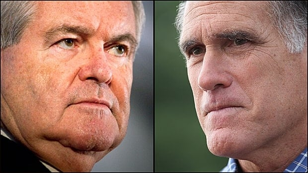 Republican presidential nominees Newt Gingrich, left, and Mitt Romney. (Getty)