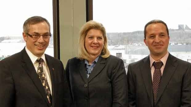 FedNor Minister Tony Clement, left, appears alongside Mayor Marianne Matichuk and Akli Ben-Anteur, assistant project manager for the biosolids facility for the funding announcement at Sudbury's wastewater treatment plant.