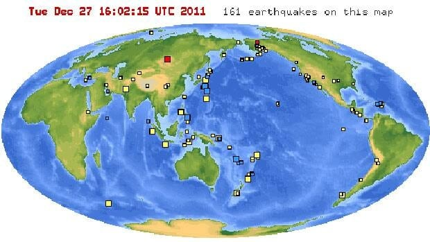The 6.6-magnitude quake that hit southwestern Siberia in Russia on Tuesday is located in red on the left of this map from the U.S. Geological Survey.