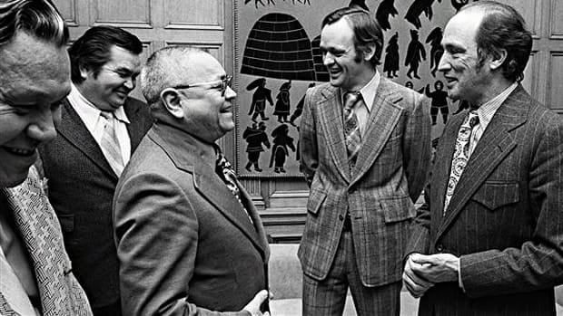 Prime Minister Pierre Trudeau, right, and Indian Affairs Minister Jean Chretien, second from right, meet with Nisga'a First Nation leader Frank Calder, centre, on Feb. 7, 1973. The Trudeau government introduced a new land claim policy after a Supreme Court decision ruled the Nisga'a had pre-existing title to their lands based on occupancy and use.