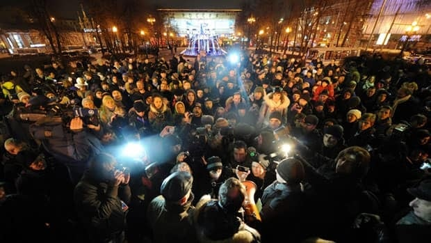 Demonstrators rally in Moscow's Pushkin Square against the continued detention of political activist Sergei Udaltsov. Amnesty International has urged his release, calling him a prisoner of conscience.