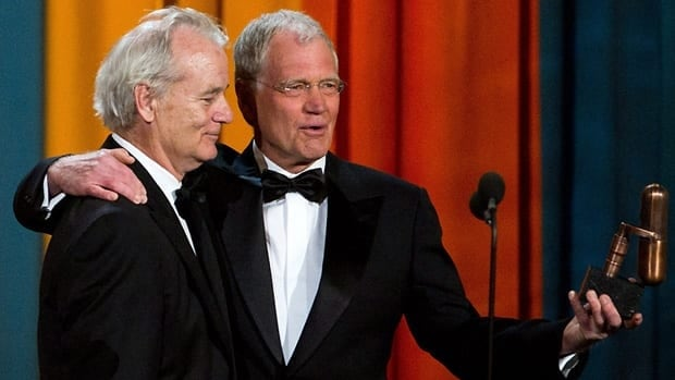 Bill Murray, left, and David Letterman appear onstage at The American Comedy Awards in New York on Saturday.