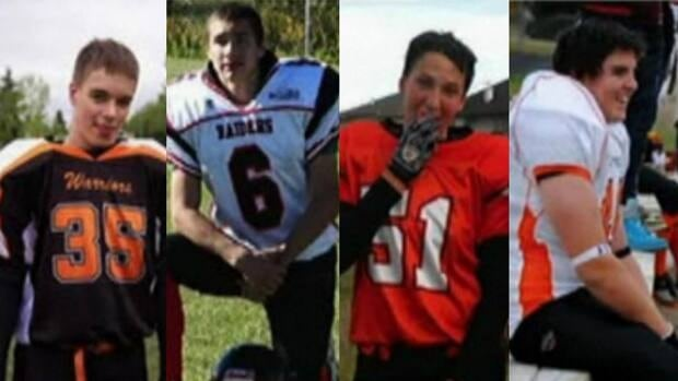 (Left to right) Walter Borden-Wilkins, 15, Tanner Hildebrand, 15, Vincent Stover, 16, Matthew Deller, 16, were killed on Oct. 22 when the car they were in was struck by a truck driven by an alleged drunk driver.