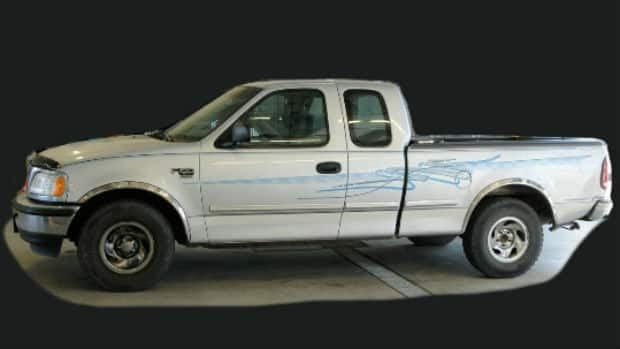 Calgary police are trying to find out more about the movements of this white Ford F-150 truck with a blue zig-zag pattern that was used to drop off a severely-injured woman who later died at the Peter Lougheed Centre. Calgary Police