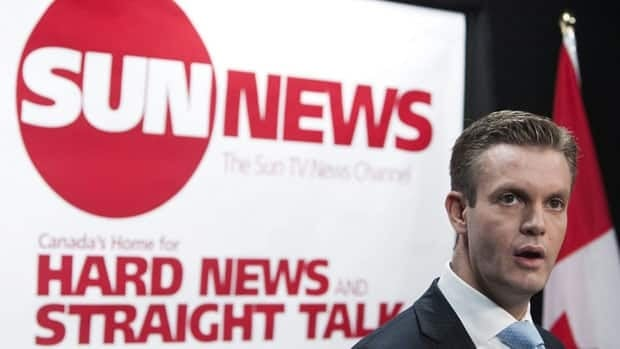 Quebecor Media Inc. vice-president of development Kory Teneycke addresses a news conference in Toronto on June 15, 2010 to launch the proposed Sun TV News Channel.