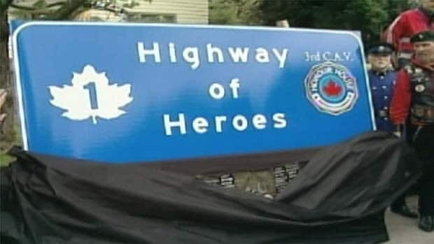 This sign will be mounted and unveiled on the highway on Saturday. CBC