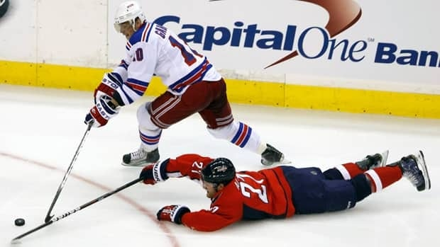 Capitals defenceman Karl Alzner, bottom, was part of a group that blocked several New York Rangers' shots in Game 1.