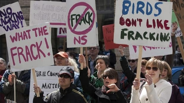 Protesters outside the Nova Scotia legislature in Halifax voice their opposition to hydraulic fracturing, or hydro-fracking, on April 22, 2011, as part of an Earth Day demonstration urging the government to ban the practice. The province is currently conducting a technical and policy review of hydraulic fracturing.