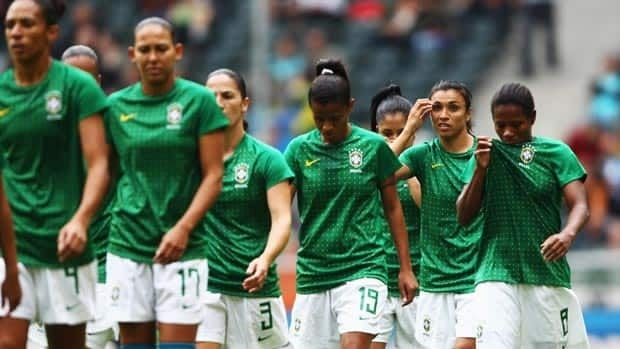 Brazil's Marta, second from right, has yet to score at this Women's World Cup.