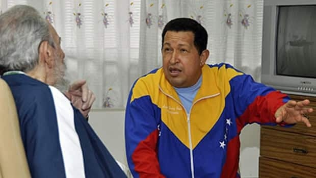 A photo from Cuba's state media website shows Cuba's Fidel Castro, left, paying a visit to Venezuela's President Hugo Chavez at a Havana hospital on June 17. Chavez's recent absence from the public eye has spurred rumours he is seriously ill, and prompted speculation about who might succeed him.