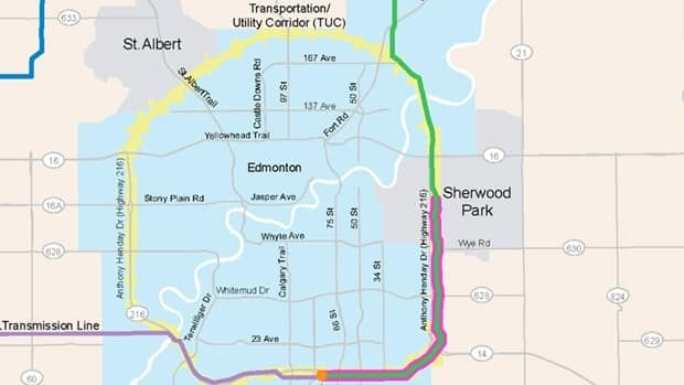 A plan shows a 20-km underground line meeting up with 45 km of a 500-kilovolt overhead power line in Sherwood Park, near Edmonton.
