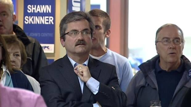 Natural Resources Minister Shawn Skinner nervously watches results Tuesday night at his campaign headquarters.
