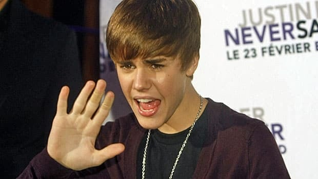 Canadian singer Justin Bieber attends the French premiere of his film Justin Bieber: Never Say Never on Feb. 17 in Paris.
