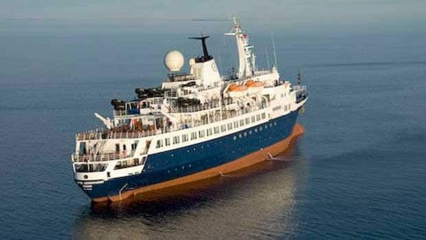 The MV Clipper Adventurer cruise ship is shown in this Canadian Coast Guard photo from Aug. 29, 2010, the day the ship's passengers were rescued after it was grounded in the Northwest Passage. The ship is now called Sea Adventurer.