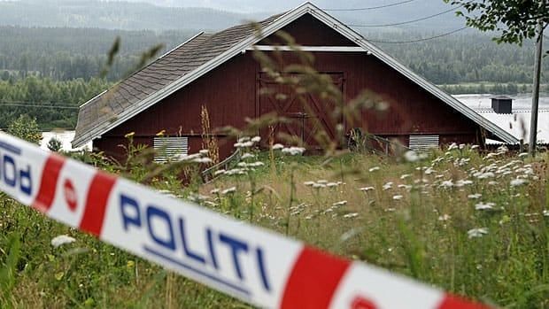 Police searched a run-down barn on a farm that Anders Breivik rented in Rena, about 150 kilometres north of Oslo. Large bags of fertilizer were found on pallets on the grounds.