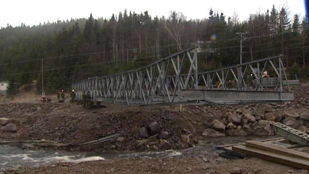 Soldiers returned to Trouty to remove an emergency bridge erected after Hurricane Igor last fall.