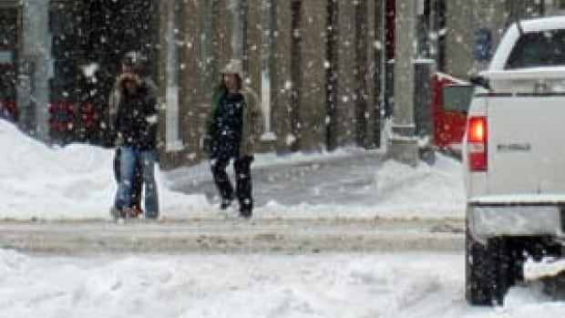 More than 26 cm of snow has fallen since the storm began Sunday afternoon.