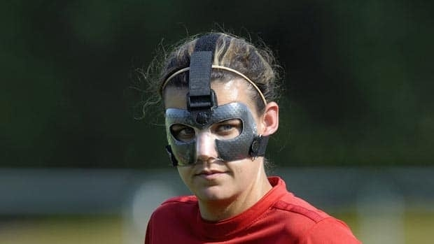 Canada's Christine Sinclair wears a protective mask during a training session in Bochum on Tuesday.