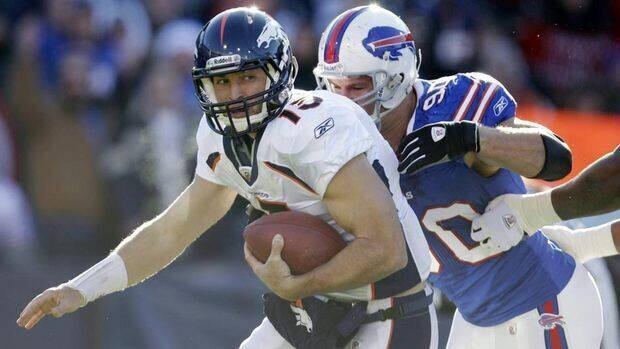 Broncos quarterback Tim Tebow threw three interceptions against Chris Kelsay and the Buffalo Bills last weekend.