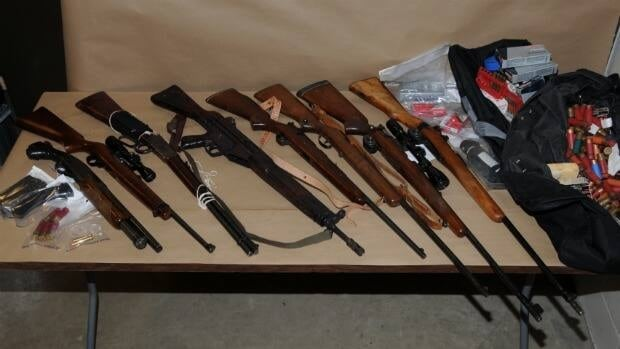 Cache of weapons seized by police after the arrest of William Bicknell Saturday.